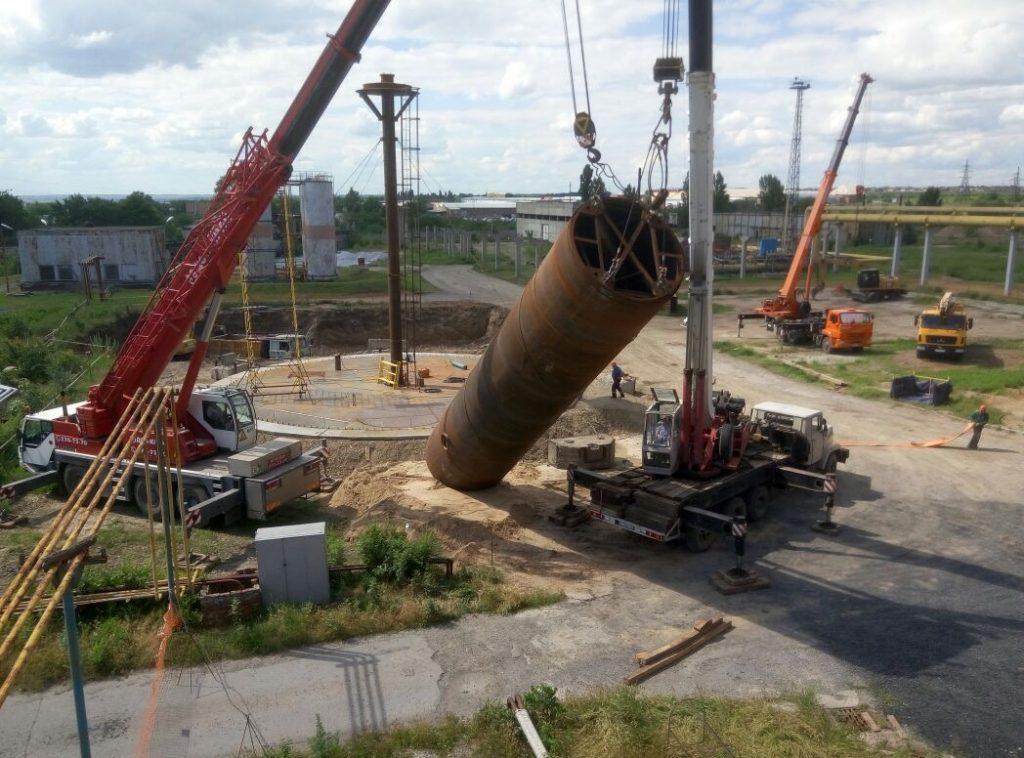 Монтаж Емкости двумя автокранами весом 50 тонн